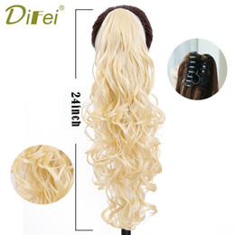 China Synthetic Women Claw On Ponytail Clip In Extensions Curly Style Pony Tail Hairpiece Black Brown Blonde Hairstyles suppliers