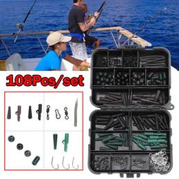 Carp Fishing Tackle Kit Box Baiting Tools Swivels Hooks Sleeves Soft Beads Tubes Clips Set Accessory