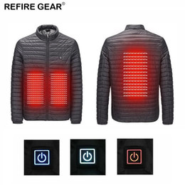 Discount men s winter gear - Refire Gear Winter Outdoor USB Infrared Heating Jacket Men Women Hooded Hiking Electric Thermal Sports Climbing Hiking C