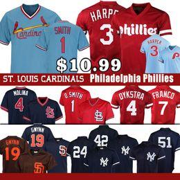 01760d67 Yankees Philadelphia 3 Bryce Harper Phillies jersey ST. LOUIS 1 Ozzie Smith  CARDINALS 19 Tony Gwynn 4 Yadier Molina 7 Maikel Franco