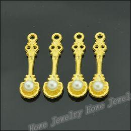 Charm Jc Australia - Wholesale 300PCS Gold-color Charms imitation pearl Charm Pendant Fit Bracelets Necklace DIY Metal Jewelry Making JC-310