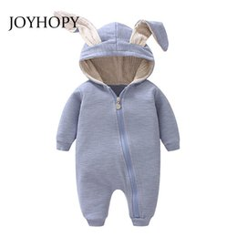 cute products Australia - Joyhopy 1pcs Baby Romper Children Kids Cute Rabbit Hooded Long Sleeve Jumpsuit Baby Product ,cotton Newborn Baby Rompers MX190720