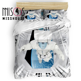 $enCountryForm.capitalKeyWord Australia - MISSHOUSE Space Warehouse Astronaut Duvet Cover Set Bed Sheets Comforter Cover Pillowcases 4pcs Bedding Sets