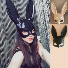 Black Bunny mask online shopping - Sexy Halloween Laidy Bunny Mask Party Bar Nightclub Costume Rabbit Ears Mask scary alien mask Festival Party Hairband Costume Colors