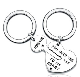 dc7572df4c DHL Couple Key Chain Ring Set You Hold The Key to My Heart & Forever Love  Heart Key Locks Lover Gift