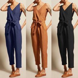 $enCountryForm.capitalKeyWord Australia - WOMAIL Fashion Women's Jumpsuits Summer Casual Solid Sleeveless V-Neck Belt Slim Plus Size Linen Lace Up Long Jumpsuit APR30