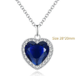 pendant titanic 2019 - 3 Style Collares Maxi Necklace Collier Classic Fashion Titanic Heart Of Ocean Pendant Zircon Luxury Ocean Pendant Zircon