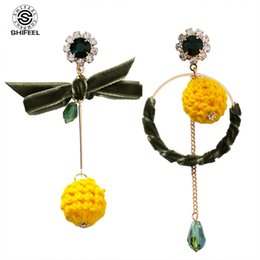 $enCountryForm.capitalKeyWord NZ - SHIFEEL New Fashion Korea Asymmetry Bow Circle Wool Ball Drop Earrings Personality hyperbole Long Pendients Women's jewelry