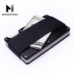 Rfid Print Australia - Aluminum RFID Blocking Mini Slim Wallet Money Clip Metal Business Credit Card ID Holder With Anti-chief Case Protector Drop Ship #302663