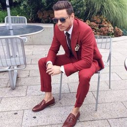 $enCountryForm.capitalKeyWord Australia - Burgundy Mens Suits 2Pieces Casual Slim Men 2019 Tuxedos For Party Prom Italian Stylish Wedding Mens Suits (Jacket+Pants+Tie)