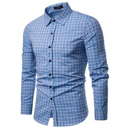 Linen Slim Shirts Australia - Men Plaid Shirt Cotton 2019 Spring Autumn Casual Long Sleeve Shirt Soft Comfort Slim Fit Styles Brand Man Clothes