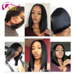 Black hair short BoBs online shopping - Short Bob Wigs Brazilian Virgin Hair Lace Front Human Hair Wigs For Black Women Swiss Lace Frontal Wig XBL Hair