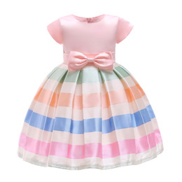 Color Clothing Australia - Cute Candy Color Striped Ball Gown Dresses for Girls Teen Clothing Short Sleeve PrincessTutu Dress Fit Birthday Wedding Party