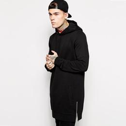 Design Sweat Shirt Australia - 2019 Men's Hip Hop Fleece Sweatshirts With Hoody Side Zip To Hem Design Long Sweat Shirt Men Longline Hoodies For Men