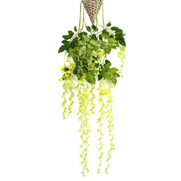 yellow rose party decorations UK - 1Pc Artificial Wisteria Hanging Flower Wedding Decor Long Yellow party decoration