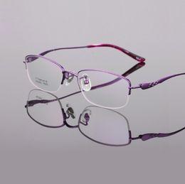 Glasses Female Titanium Australia - New pure titanium women eyeglasses frames ultra light business half rim reading glass Optical myopia brand eyewear frames female