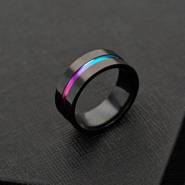 rainbow titanium jewelry 2019 - 316L Stainless Steel Ribbon Ring Black Rainbow Ring Band Rings for Women Men Fashion Jewelry Will and Sandy Drop Ship di