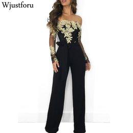 $enCountryForm.capitalKeyWord Australia - Wjustforu Off Shoulder Sexy Lace Jumpsuit Summer Fashion Bandage Wide Leg Jumpsuit Long Sleeve Elegant Bodycon Jumpsuit Female MX190726