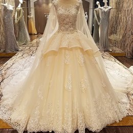Models Photos Back NZ - Luxury Wedding Dress Models Lace Ball Gown Corset Back Wedding Gowns 2019 O-Neck Sleeveless Bride Dress With Long Cape