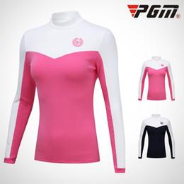 2020 Tops Women PGM Golf Clothes Autumn Winter Plus Velvet Long Sleeve T Shirt Woman's Patchwork Bottoming Shirt D0497 on Sale