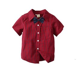 $enCountryForm.capitalKeyWord Australia - Boy Vintage Plaid Shirts Kids Clothing Fashion cotton Gentleman Blouse Summer 2019 Baby Boy clothes