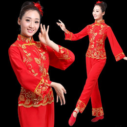 woman fans Canada - ancient chinese costume women folk dance lion costume for woman hanfu women new year Fan Yangko Stage clothing dragon Younger