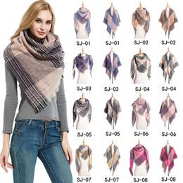 Wholesale Soft Women Plaid Scarf Fashion Winter Warm Knitting Triangle Scarves Female Classic Lattice Shawls Blanket Wrap LJJT1609