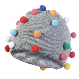 $enCountryForm.capitalKeyWord NZ - Cute Colorful Small Ball Beanie Hat for Girls Boys Women Autumn Winter Knitted Warm Gray Beanies Skullies Hats