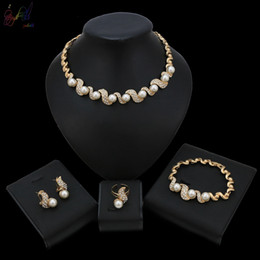 $enCountryForm.capitalKeyWord Australia - Yulaili Crystal Pearl Unique Shape Gold Color Necklace Earrings 4 Pcs for Women Fashion Wedding Jewelry Sets Gift Drop Shipping