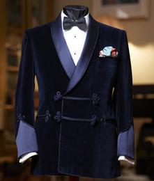 navy blue skinny suit 2019 - 2019 Navy Blue Men Suit Slim Fit Tuxedo Custom Blazer Groom Prom Wedding Suits 2 Pieces ( Velvet Jacket+ Black Cotton Pa