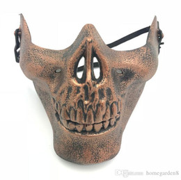 half face mask for halloween NZ - CS Mask Carnival Gift Scary Skull Skeleton Paintball Lower Half Face facemask warriors Protective Mask For Halloween Party Masks