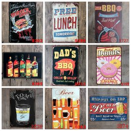 Discount house decoration walls - Metal Signs BBQ Tin Poster Retro Bar Wall Art Painting Steak House Decorative Plaque Home Decor 40 Designs Optional YW39
