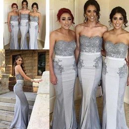 $enCountryForm.capitalKeyWord Australia - Silver Gray Fishtail Bridesmaid Dresses Lace Appliques Strapless Long Maid Of Honor Gowns For Wedding 2019 Mermaid Cheap Bridesmaid Dress