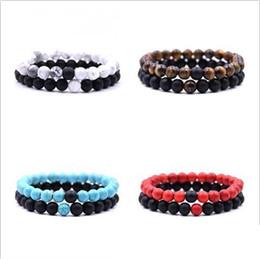$enCountryForm.capitalKeyWord Australia - Natural Stone Beads bracelets for Lovers Couple Women Men bead Bracelet womens mens Jewelry Valentine's Day gift 2pcs set