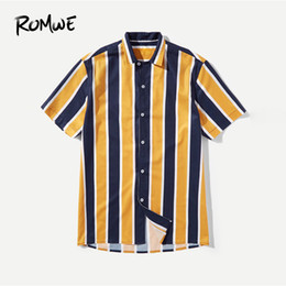 Clothes Single Australia - Romwe Men Color Block Shirt 2019 Fashion Summer Cool Male Short Sleeve Turn Down Collar Single Breasted Button Clothing Blouse Y190506