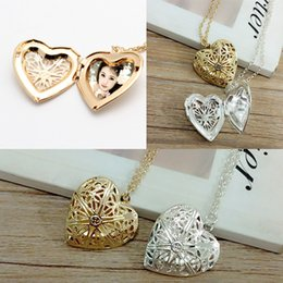 $enCountryForm.capitalKeyWord Canada - Open Locket Necklace Valentine Lover Gift Photo Phase box Necklaces Frames Jewelry For Women Girlfriend Gift Heart Pendant Necklace