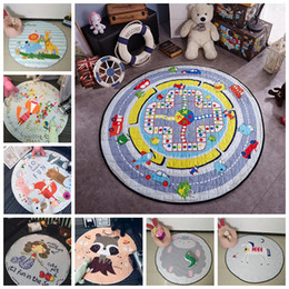 Discount carpet bags wholesale Baby Creeping Mats Toy Storage Bags Cartoon Animals Play Game Mat Crawling Blanket Kids Room Floor Carpets Organizer Bla