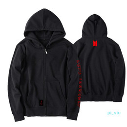 Wholesale bts suga for sale - Group buy BTS Love Yourself World Tour Fleece Cap Hoodie JIMIN V SUGA Loose Zipper Coat Unisex Jacket Outwear Sweatshirts