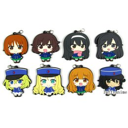 Rubber Figures Australia - Girls und Panzer GIRLS and PANZER Rubber pendant Yukari Akiyama anime cartoon PVC Figure Mobile Phone Accessories strap
