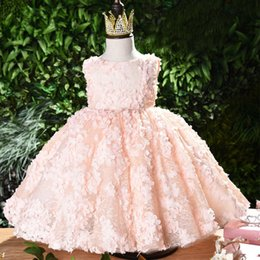 Year Baby Dressing Style Australia - 1 Years Birthday Toddler Girl Baptism Dress Christams Newborn Girl Pink Tulle Party Dress Baby Princess Christening Wear Dresses Y19050602