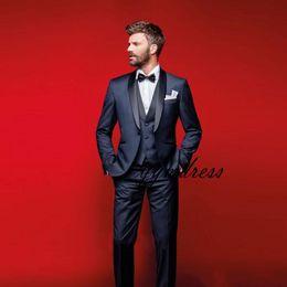 Three Piece Suit White Slim NZ - 2019 Navy Blue Wedding Tuxedos Slim Fit Suits For Men Groomsmen Suit Three Pieces Cheap Prom Formal Suits (Jacket +Pants+Vest+Bow Tie)