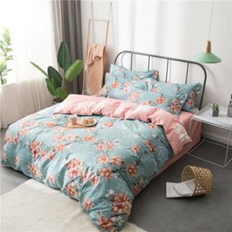 Light pink duvet covers online shopping - 4pcs Home Spring Flower Printed Cotton Bedding Sets Bed Set Duvet Cover Bed Sheet Cover Set