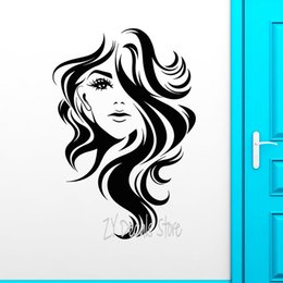 wall stickers sexy girls NZ - Sexy Girls Vinyl Wall Decal Beauty Long Hair Salon Girl Face Hairstyle Wall Stickers For Window Barbershop Sign Decoration