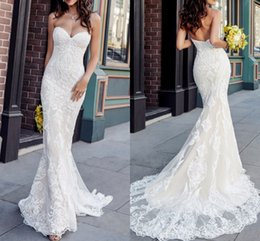 Discount unique mermaid wedding dress train - Sexy Sweetheart Mermaid Wedding Dresses 2019 Unique Lace Appliques Bridal Gows Abiti da sposa Court Train Vestido de nov