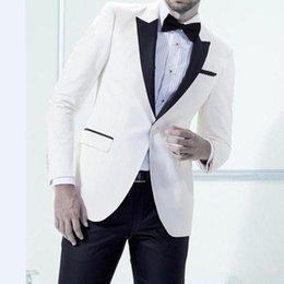 $enCountryForm.capitalKeyWord Australia - Brand New Ivory Men Wedding Tuxedos Excellent Groom Tuxedos Peak Lapel One Button Fashion Men Blazer 2 Piece Suit(Jacket+Pants+BowTie) 1350