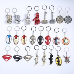 Wholesale red iron anchor resale online - 19 Styles Marvel Avengers Series Keychain Batman Mask Metal Key Rings Superhero Key Holder Fans Keyring Jewelry
