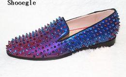 $enCountryForm.capitalKeyWord Australia - Men Fashion Spike Shoes Spring Summer Colorful Rivets Loafers Rubber Soles Slip-on Flats dress Moccasins Men Shoes