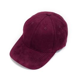 Outdoor Cap Wholesale UK - Adjustable Unisex Suede Baseball Cap Curved Brim Hat Solid Color Outdoor Sports Hat 2019 New