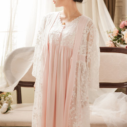 Sexy blue Sleepwear for women online shopping - Vintage Robe Lace Nightgown Set For Ladies Embroidery Sleepwear Princess Robe Gowns Women New Fashion