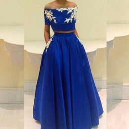 vestidos gala lace plus Australia - Two Piece Prom Dresses Off The Shoulder Lace Up Back Satin A-ling Long Dress With Appliques And Pockets Vestidos De Gala